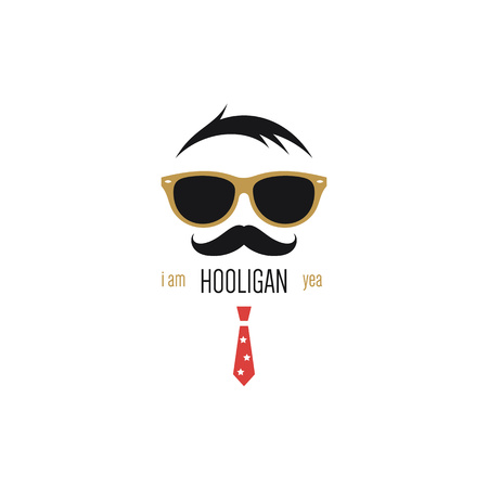 red tie: Icon of hooligan with sunglasses, mustache and red tie