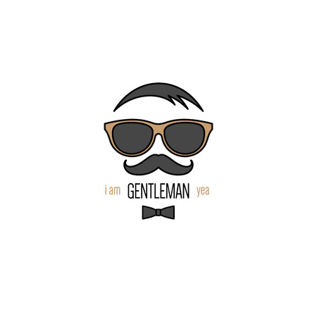 trendy male: Icon of gentleman with sunglasses and mustache