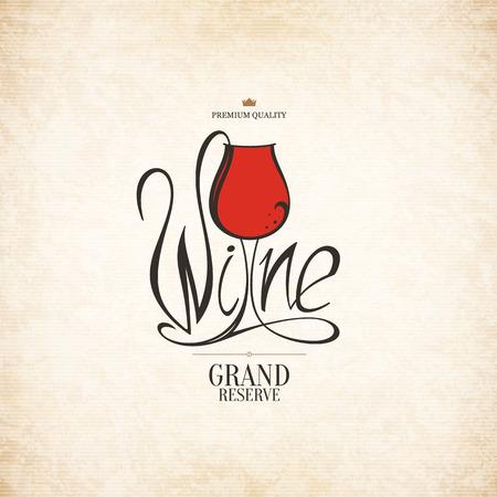 vinho: Logotipo para a loja de vinho, adega, vinhos, restaurante Ilustração
