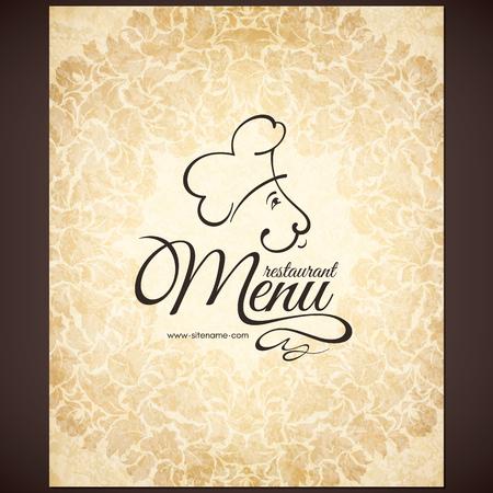 Rétro conception de menu de restaurant avec le chef drôle