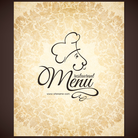 coffeehouse: Retro restaurant menu design with funny chef