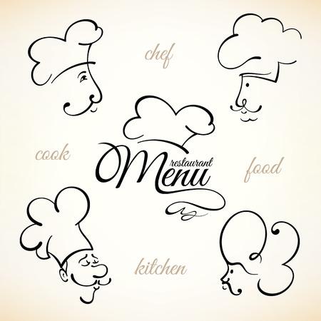 étiquettes Chef de chapeau fixés pour la conception de menu de restaurant