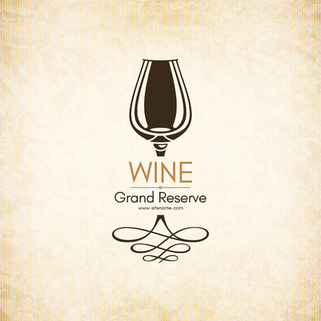 food drink: Logotype for wine shop, winery, wine list, restaurant Illustration