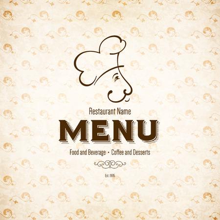 retro restaurant: Retro restaurant menu design with funny chef