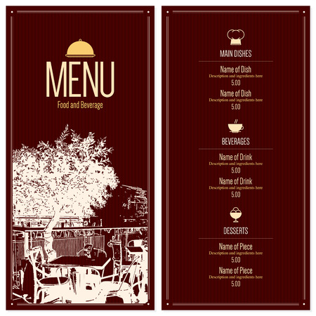 coffee house: Restaurant menu design. Vector menu brochure template for cafe, coffee house, restaurant, bar. Food and drinks logotype symbol design. With a sketch pictures and crumpled vintage background Illustration