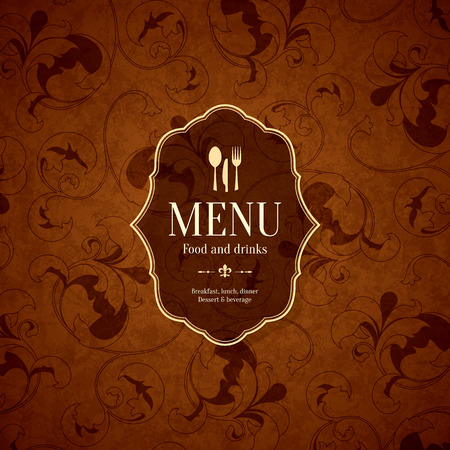 coffee house: Restaurant menu design. Vector menu brochure template for cafe, coffee house, restaurant, bar. Food and drinks logotype symbol design. With chef hat, fork and spoon