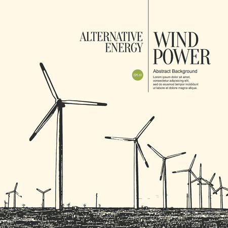 electric power: Abstract sketch stylized background. Electric power plant and wind turbines Illustration
