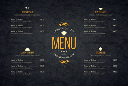 carta de postres: Diseño de menú del restaurante.
