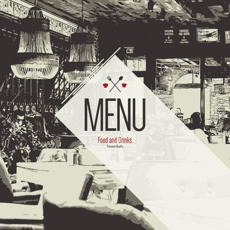 bocetos de personas: Diseño de menú del restaurante.