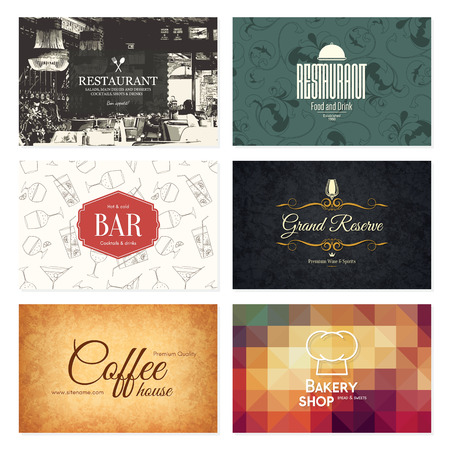 Business card set. 6 bright visiting cards. Food and drink theme. For cafe, coffee house, restaurant, bar Illustration