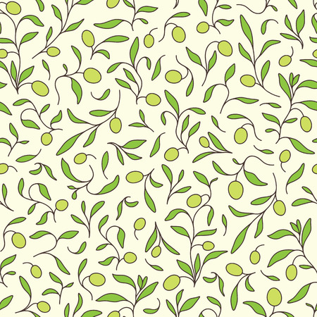 Seamless background with olive branches.
