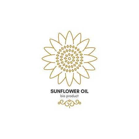 agronomy: Vintage sunflower logotype, symbol design Illustration