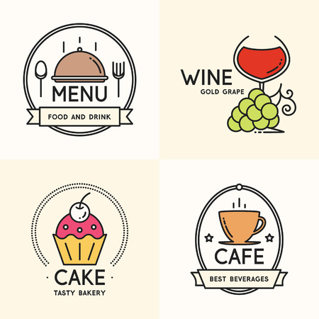 wineyard: Label and logo set for restaurant, cafe, coffee house, bakeshop, menu design.