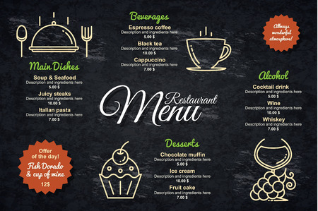 vintage cafe: Restaurant menu design. Vector menu brochure template for cafe, coffee house, restaurant, bar. Food and drinks  symbol design. With a crumpled vintage background Illustration