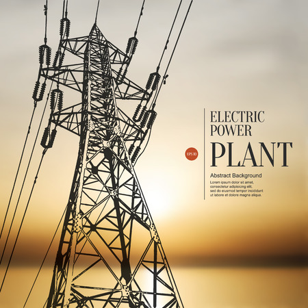 Abstract sketch stylized background. Electric power plant Vettoriali