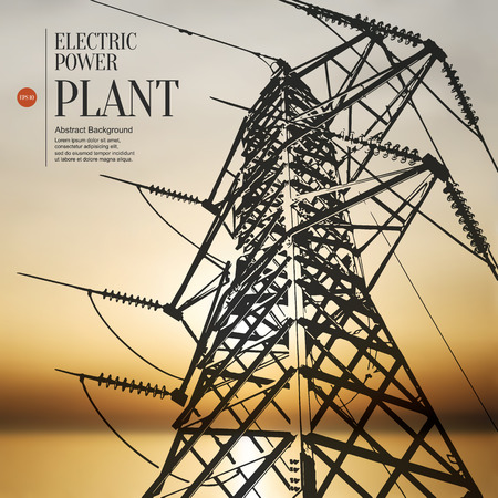 cabling: Abstract sketch stylized background. Electric power plant Illustration