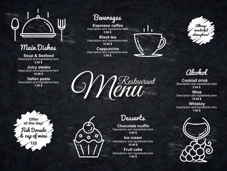 coffee house: Restaurant menu design. Vector menu brochure template for cafe, coffee house, restaurant, bar. Food and drinks  symbol design. With a crumpled vintage background Illustration