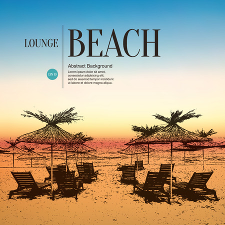 loungers: Abstract sketch stylized background. Beach, sun loungers and umbrellas. Blurred sunrise