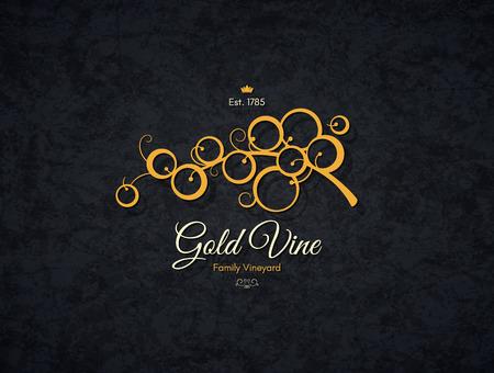 winery: Vintage  for winery, vineyard, wine shop, wine list. Food and drinks  symbol design. Crumpled vintage paper background Illustration