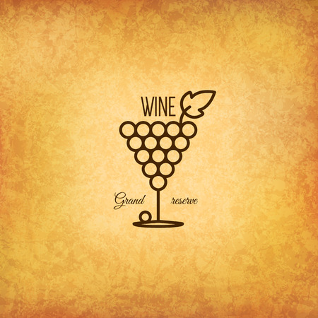 wine and food: Vintage  for winery, vineyard, wine shop, wine list. Food and drinks  symbol design. Crumpled vintage paper background Illustration