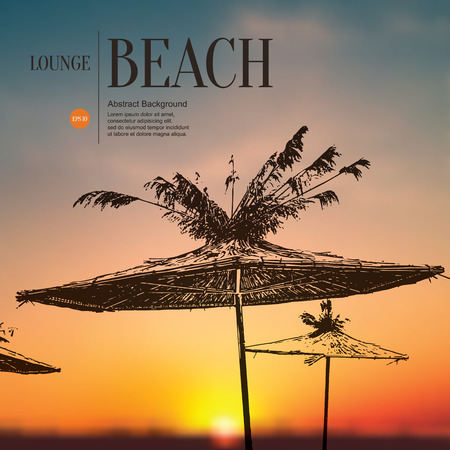 beach sunset: Abstract sketch stylized background. Beach, sunset and umbrellas