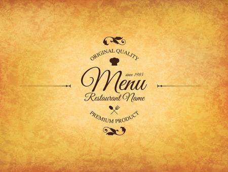 Restaurant menu design. dal menu vettoriale modello di brochure per bar, caffè, ristorante, bar. Il cibo e le bevande di design simbolo. Sgualcita sfondo di carta vintage