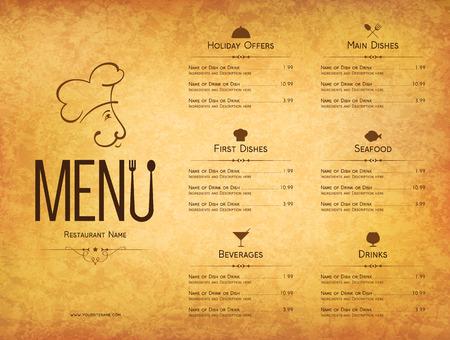 menu design: Restaurant menu design. Vector menu brochure template for cafe, coffee house, restaurant, bar. Food and drinks  symbol design. Crumpled vintage paper background Illustration