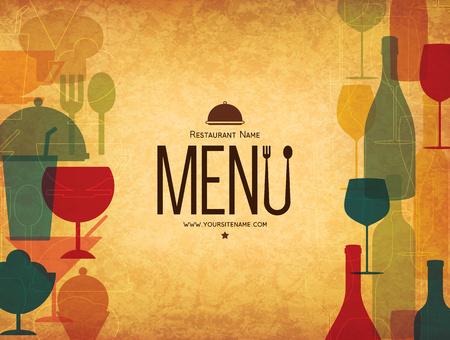 restaurant food: Restaurant menu design. Vector menu brochure template for cafe, coffee house, restaurant, bar. Food and drinks  symbol design. On crumpled vintage background Illustration