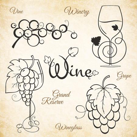 für Winzer, Weinberg, Weingeschäft, Weinkarte. Speisen und Getränke Symbol Design