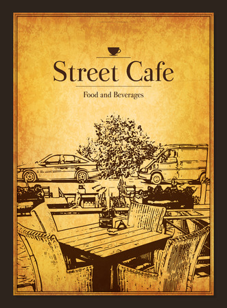 restaurant bar: Restaurant menu design. Vector menu brochure template for cafe, coffee house, restaurant, bar. Food and drinks  symbol design. With a sketch pictures and crumpled vintage background
