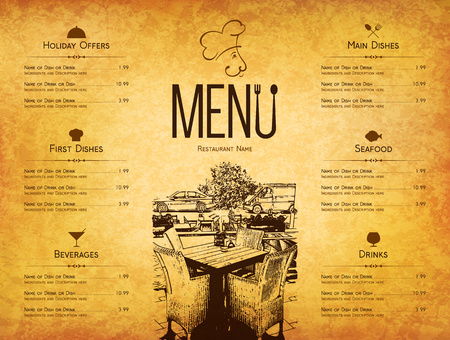 Restaurant menu design. Vector menu brochure template for cafe, coffee house, restaurant, bar. Food and drinks  symbol design. With a sketch pictures and crumpled vintage background