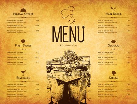 Restaurant menu design. dal menu vettoriale modello di brochure per bar, caffè, ristorante, bar. Il cibo e le bevande di design simbolo. Con le immagini schizzo e vintage sfondo sgualcito Vettoriali