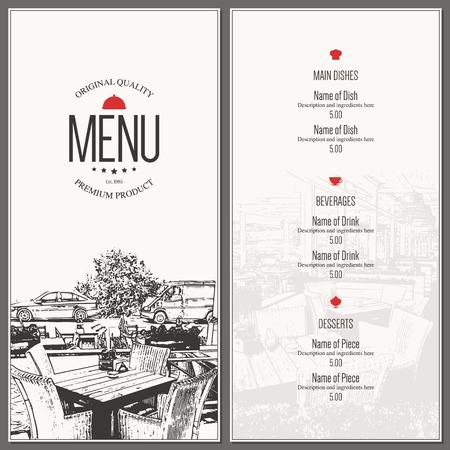 Restaurant menu design. dal menu vettoriale modello di brochure per bar, caffè, ristorante, bar. Il cibo e le bevande di design simbolo
