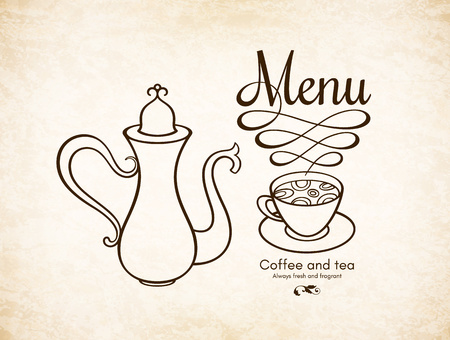 Restaurant or coffee house menu design. Vector brochure template for cafe, coffee house, tea, restaurant, bar. Food and drinks  . Coffee symbols. Coffee cup design, vintage crumpled background