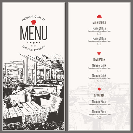 coffee house: Restaurant menu design. Vector menu brochure template for cafe, coffee house, restaurant, bar. Food and drinks  symbol design