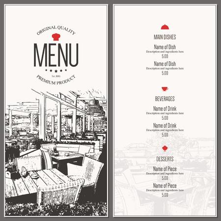 Restaurant menu design. Vector menu brochure template for cafe, coffee house, restaurant, bar. Food and drinks  symbol design