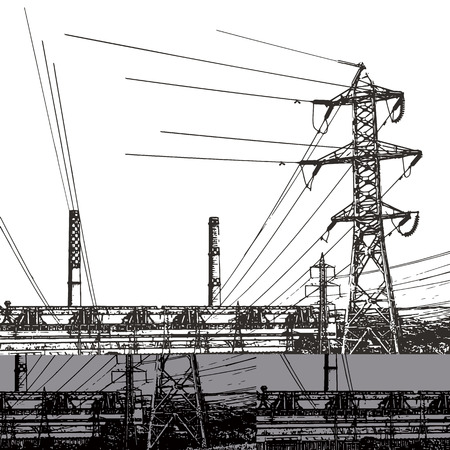 electric power: Abstract sketch stylized background. Electric power station Illustration