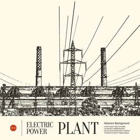 power station: Abstract sketch stylized background. Electric power station Illustration