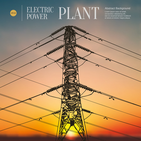 Abstract sketch stylized background. Electric power station Illustration