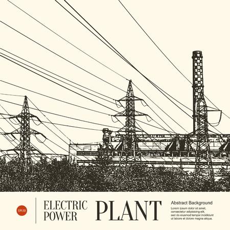 energia electrica: Bosquejo abstracto fondo estilizado. Estación de energía eléctrica