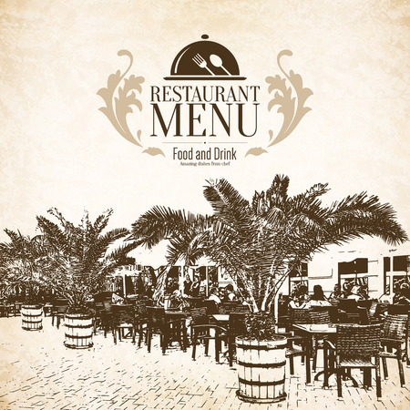 Restaurant menu design. Vector menu brochure template for cafe, coffee house, restaurant, bar. Food and drinks logotype symbol design. With a sketch pictures and crumpled vintage background Illustration