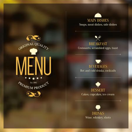 Restaurant menu design. Vector brochure modello per caffè, caffè, ristorante, bar. Il cibo e le bevande di design simbolo logotipo. sfondo Vintage
