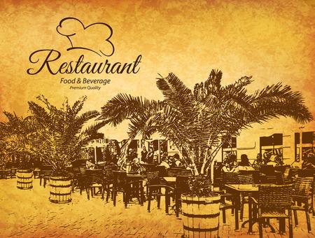Restaurant menu design. dal menu vettoriale modello di brochure per bar, caffè, ristorante, bar. Il cibo e le bevande di design simbolo logotipo. Con le immagini schizzo e vintage sfondo sgualcito
