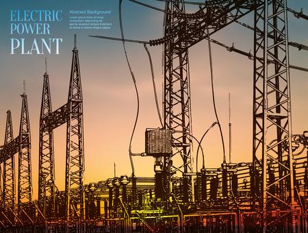 energia electrica: Resumen boceto fondo estilizado. Planta de energía eléctrica