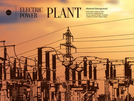infrastructure: Abstract sketch stylized background. Electric power plant Illustration