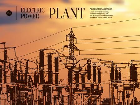 Résumé esquisse de fond stylisé. Centrale électrique