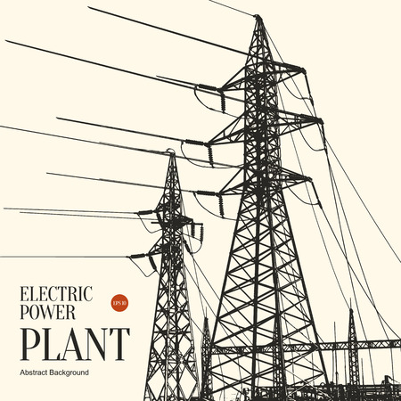 Abstract sketch stylized background. Electric power plant 向量圖像