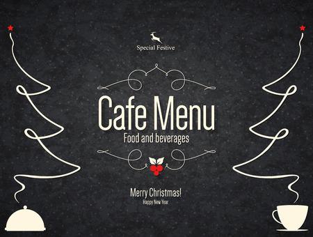 beverage: Special Christmas festive menu design Illustration