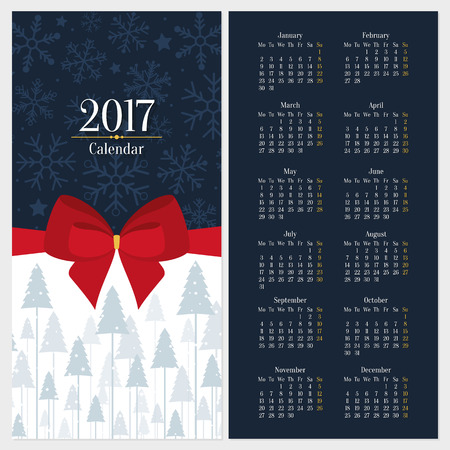 red bow: Vector 2017 calendar template with red bow and christmas tree