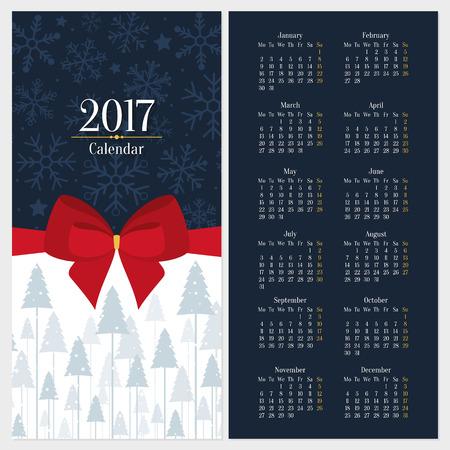 calendrier: Vector 2017 calendrier modèle avec un arc rouge et arbre de Noël